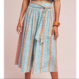 Anthro FeatherBone Aztec Teal Wide Leg Culottes, M